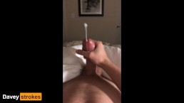 Cute guy with big dick shoots huge load before bedtime