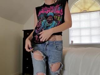 Stripping Cumming LIttle Strip tease teen orgasms
