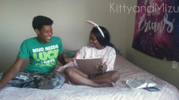 Ebony teen fucks nerd while family is in the kitchen