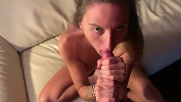 Young Saphie sucks cock and gets cum deep in her pussy