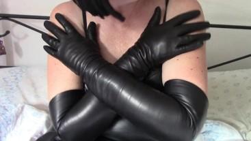 My new black leather opera gloves