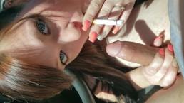 Smoking in the blazer blowjob