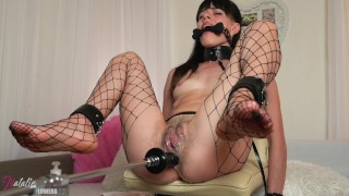 Good Anal Fuck for Young Slave,Sex machine Torture and Destroy her Asshole