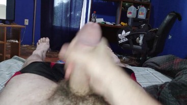 Stroking my dick and cumming