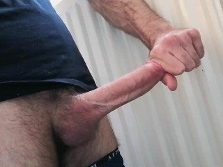 Solo male masturbates his huge throbbing cock and edging to the limit