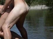 Sexy MILF being fucked outdoors by the river with cumshot on ass