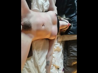 Too Large Big Dick Destroyer Tight Pussy tied up, blindfolded and squirting all over - using hitachi