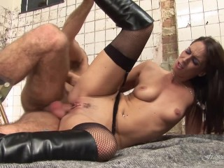 Slutty beautiful brunette banged in doggy e in the prison bathroom