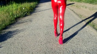 sexy high heels latex leggins domina walking,very hot domina from poland – teen porn