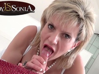 Mature British beauty Lady Sonia sucking a hard cock Lady Sonia