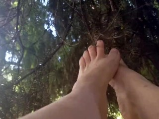 Bare Feet Playing with Spruce Sticks ASMR Muse SFW