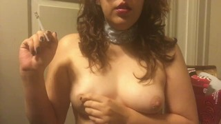 Sexy Goth Teen Babe in Choker Smoking and Playing with Perfect Perky Tits
