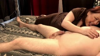Hot Mature Cougar Gives Great Nipple Play Session to Young Husband With Cum