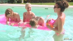 3 British Holiday Makers Strip Off And Play Pool Games