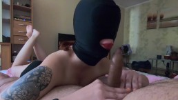 Slave Teen With BDSM Mask Gives Amazing Blowjob