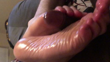 My pretty white feet playing with more black cock