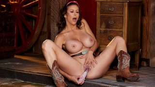 Alexis Fawx fucks herself with dildo in the barn