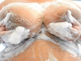 Big Soft and Natural Breasts Being Washed