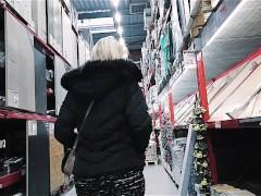 hidden cam spiying a big butt MILF in miniskirt and pantyhose in diy store