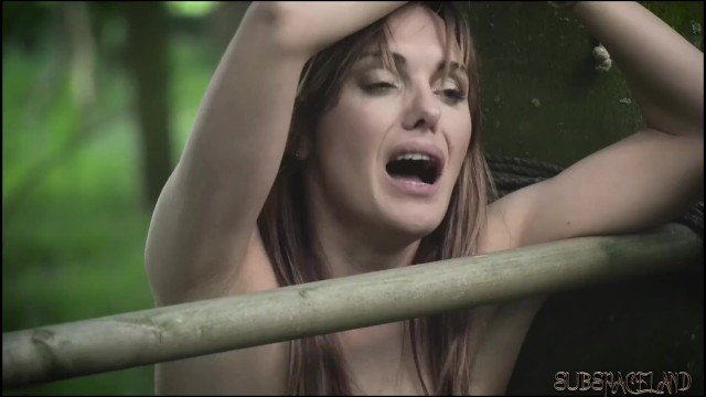 Young virgin anal pain scream cry - Teen amateur slave tied up outdoors has screaming orgasm and endures pain