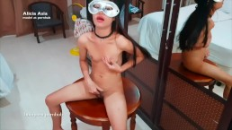 Tiny Asian Teen Girl is playing herself on a little table - 1minporn