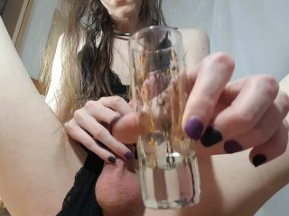 Cumming in a shotglass and downing it