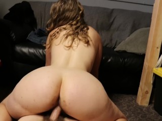 Amateur Home Film POV horny babe fuck - bouncing tits, huge ass reverse cowgirl
