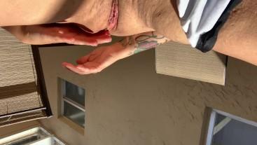 BBW w/ tattoos & piercings fingering pussy cums outdoor big tits fat ass