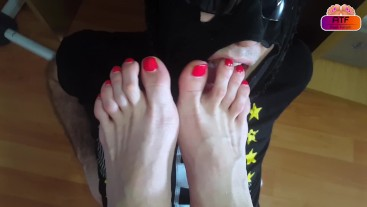 Relaxing worshiping feet and soles of my wife