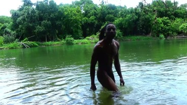 Skinny dipping in the river- piss and cum shot- risky outdoor public bbc