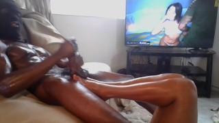 Mrspanxalot worships Madame Phuxalot feet while jacking his BBC!