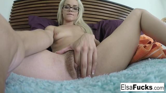 Hiare a pornstar Tiny babe elsa jean fingers her hairy pussy