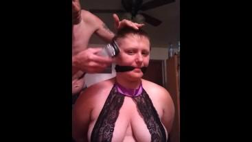 BBW girl headshave bondage