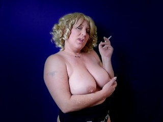 MILF SMOKING Cigarettes TOPLESS BIG BOOBS