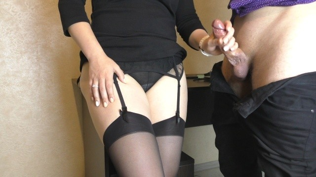 Sexy Secretary In Stockings Makes Boss Cum On Her Dress In Office