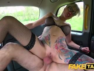 Balls Tattooed Fake video: Fake Taxi Tattooed MILF Tanya Virago drains cabbies balls