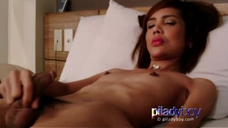 Small tits redhead Filipina Ladyboy wanking her hairy cock and cum semen