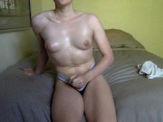 Feeling Myself - Oily breast massage featuring puffy nipples and cute dick
