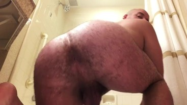 Beefy Stud Bouncing Hairy Ass Cakes, Soaping Tight Asshole