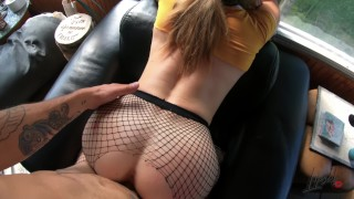 Hot Wife in fishnet suck and fuck + Cum on Tits - Amateur Lipsed