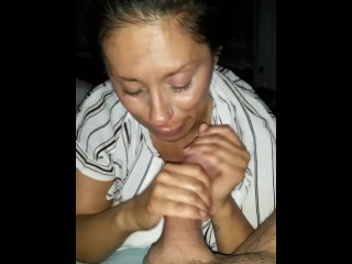 Stepmom sucks dick swallows dts