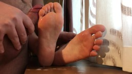 Sexiest Passive Footjob & Cum On My Soft Soles