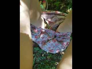 Piss on clothes/girl peeing/desperation shorts on pee outside
