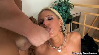 Naughty America - Blonde Zoe Holiday fucking in the living room