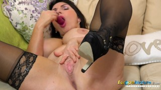 EuropeMaturE Huge Tits Play and Toy Masturbation