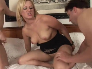 Threesome with Hot Big Tit Blonde Milf Fucks a Small Dick and a Big Dick