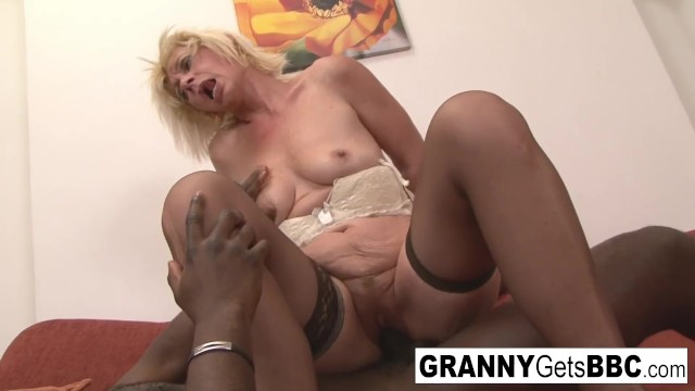 Dirty blonde mature gets her ass filled with black cock