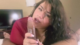 Cute BBW Breana Khalo Sucks & Chokes on Her First BBC