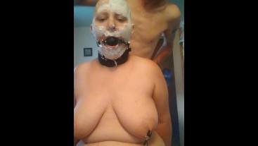 BDSM bbw getting razor shaved naked