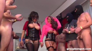 Masked Mistress Gets into Bukkake Fest